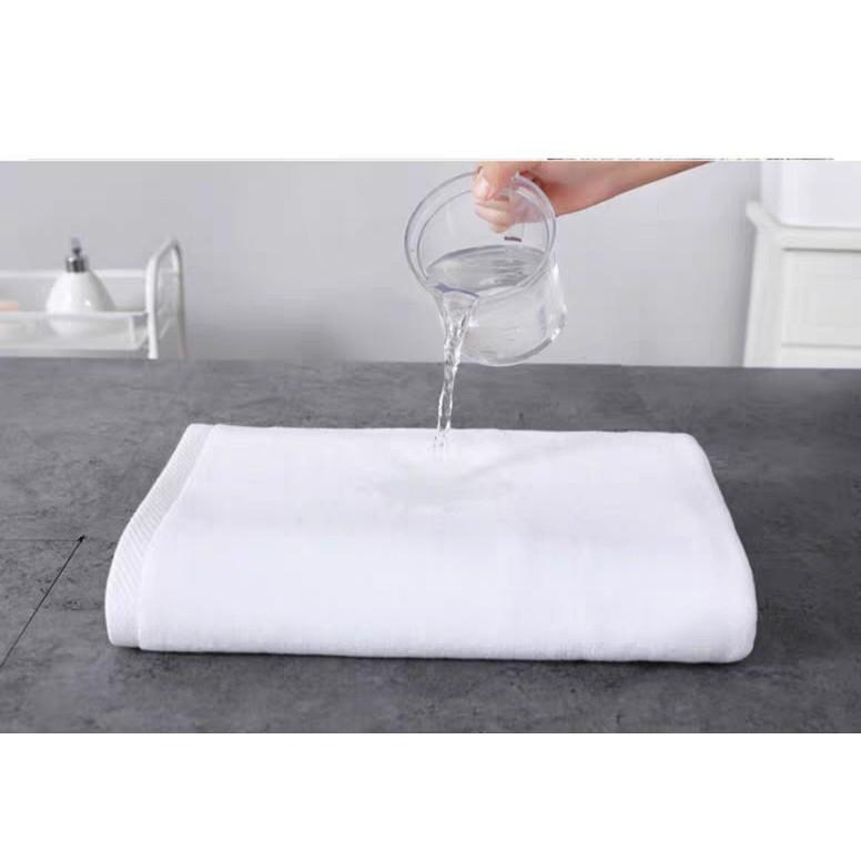 Khăn tắm khách sạn cao cấp 70x 140cm 400gram khăn dệt 100% bông tự nhiên màu trắng