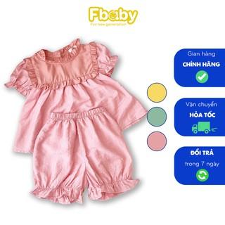 [Freeship Xtra] Set bộ bé gái tơ đũi FBaby hoạ tiết phối cổ, bộ bé gái 3 màu chất liệu đũi cao cấp mềm mịn