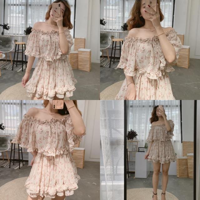 Đầm Xinh Trễ Vai Roll Dress hoạ tiết hoa nhí chất voan xếp bèo bo chun ở eo có kèm lớp lót trong - váy công chúa