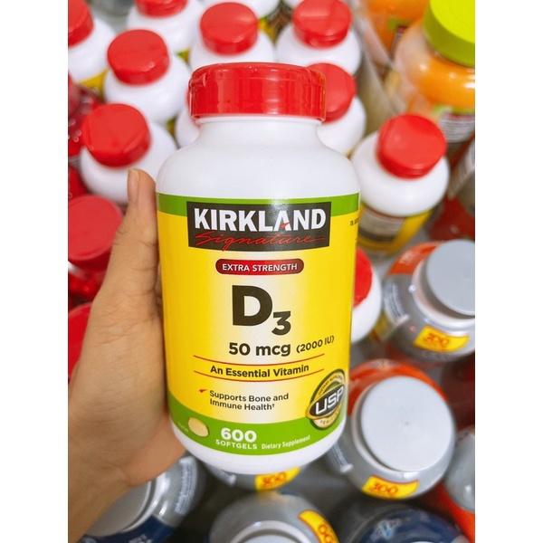 Vỏ chai Vitamin D3 Kirkland Extra Strength D3 50mcg ( 2000IU) Mỹ