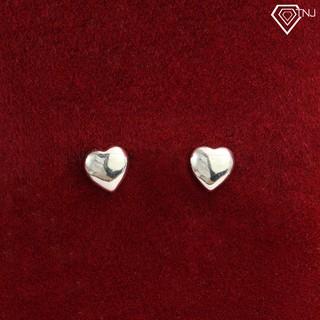 Khuyên tai nữ bạc đơn giản hình trái tim BTN0056 - Trang Sức TNJ