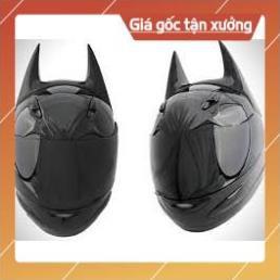 [Giống ảnh] Mũ bảo hiểm Fullface AGU đen bóng - Asia mt136 đen nhám kèm sừng BATMAN chính hãng bảo hành 12th