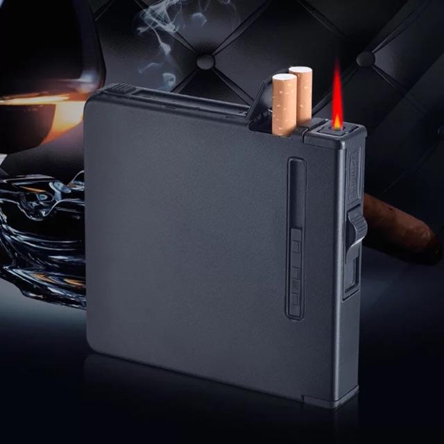 Hộp đựng thuốc lá đa năng kèm bật lửa điện hộp kim loại cao cấp Bật lửa
