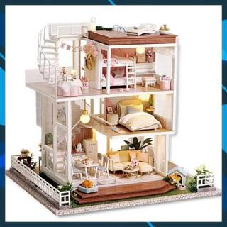 Mô hình nhà búp bê gỗ DIY Mô hình Nhà búp bê lắp ghép So Well A007 Toy World