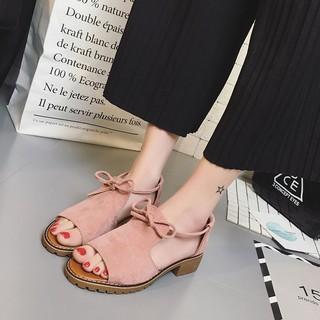 giày sandal ngang thắt nơ boot bệt  hàn quốc