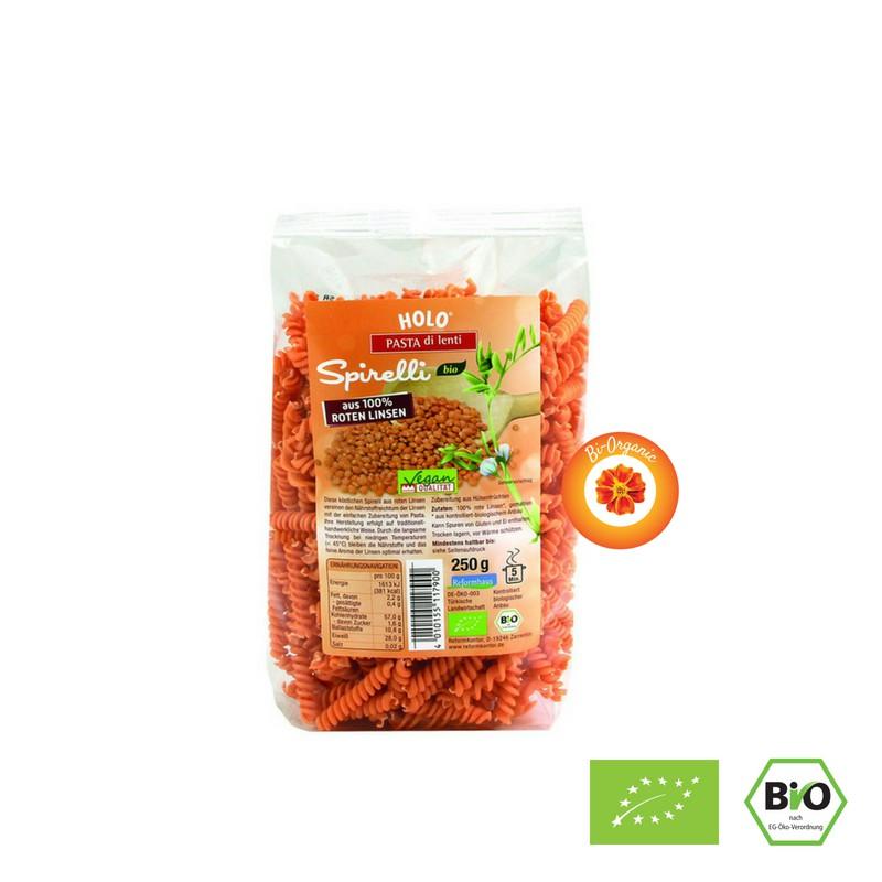 NUI XOẮN ĐẬU LĂNG ĐỎ HỮU CƠ HOLO (250g) - Organic Red Lentil Spirelli