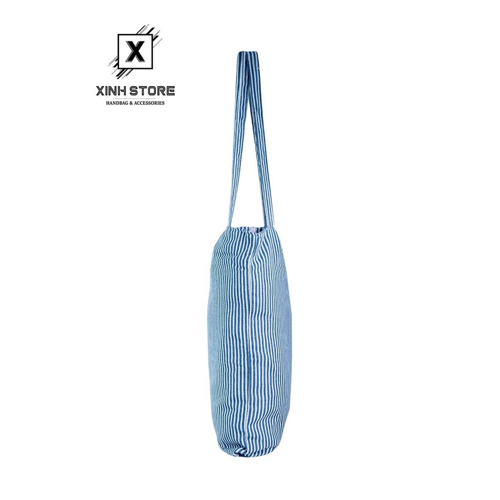 Túi Tote Nữ Sọc Xanh Nhuyễn XinhStore