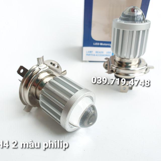 Đèn pha led bi cầu H4 2 màu philip sáng mạnh