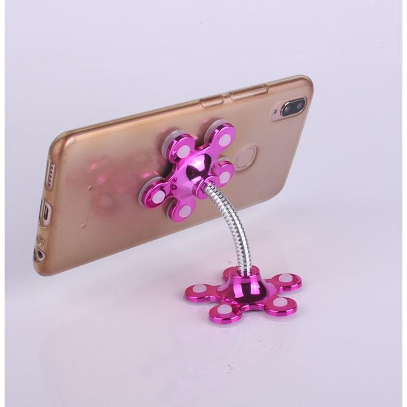 Kẹp giữ điện thoại Thông minh - giá đỡ điện thoại hình hoa Hút chân không 2 đầu xoay 360 Siêu dính - màu Ngẫu nhiên