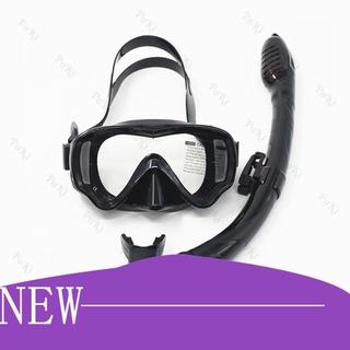 【Hàng sẵn sàng】 Kính lặn ống thở AMS – ĐEN, mắt KÍNH CƯỜNG LỰC + ống thở van 1 chiều ngăn nước cao cấp – POKI