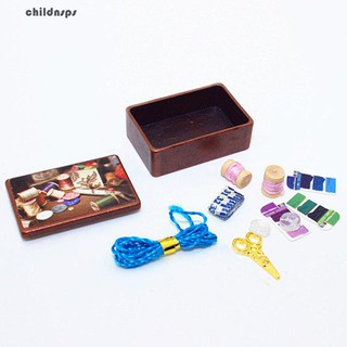 1Set 1/12 Dollhouse Decor Mini Sewing Box Materials Simulated DIY Model Toy