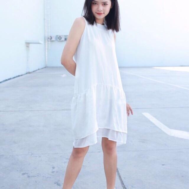 Đầm suông doll chân voan 2 tầng