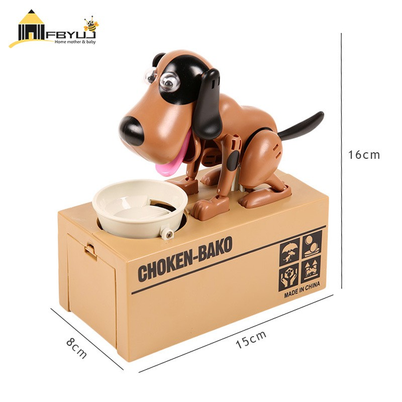 FBYUJ- Mechanical Kid Coin Bank Box Catoon Puppy Hungry Robotic Dogs Money Saving Collection Piggy Box