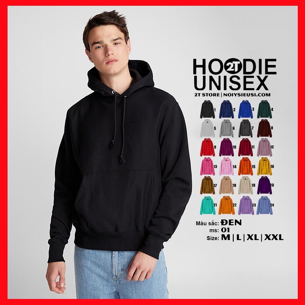 Áo hoodie unisex 2T Store H01 màu đen - Áo khoác nỉ chui đầu nón 2 lớp dày dặn đẹp chất lượng