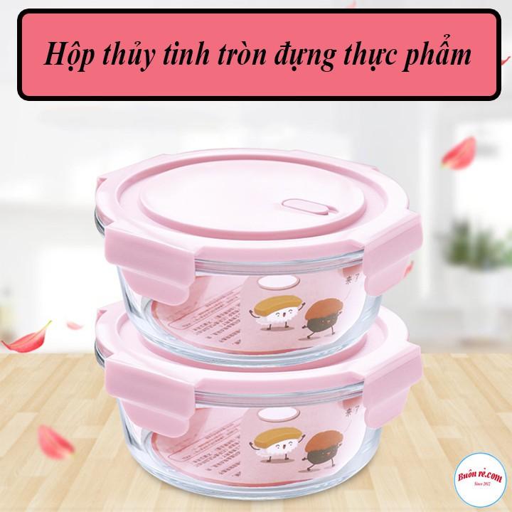 Hộp cơm thủy tinh tròn 400ml đựng thực phẩm cao cấp đa năng có nắp hút chân không – Buôn rẻ.com 00996