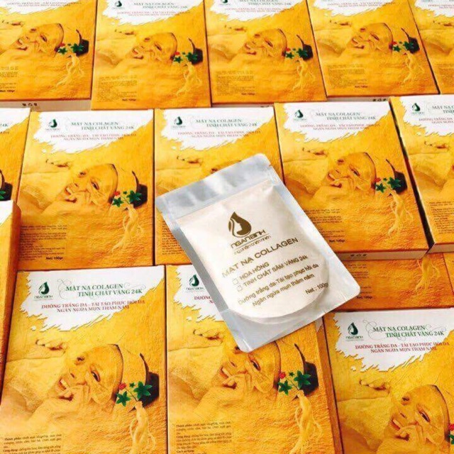 Mặt nạ colagen tinh chất sâm vàng chính hãng Ngân Bình