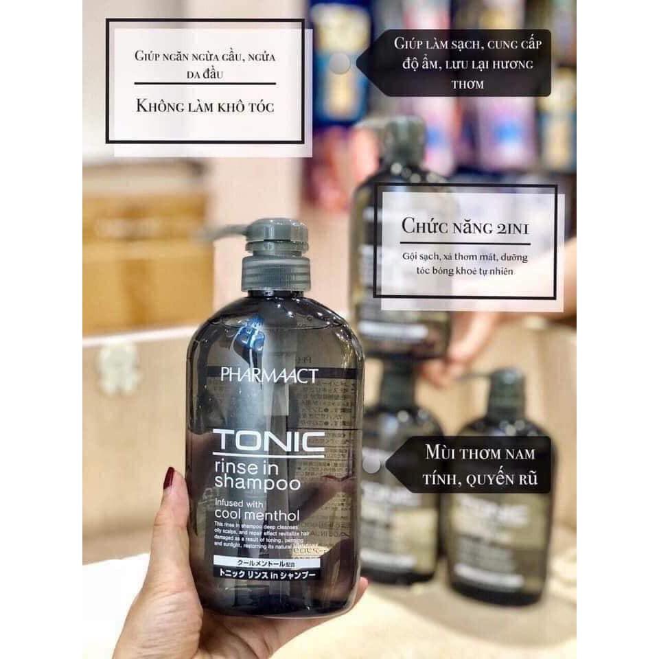 Dầu gội xả 2 trong 1 chuyên trị gàu hương bạc hà Pharmaact Tonic của Nhật