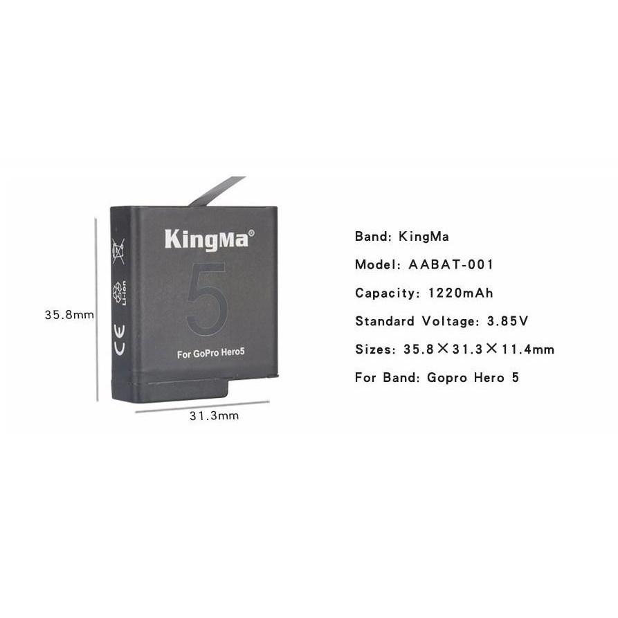 HOT [Giá siêu rẻ] pin zin kingma cho camera hành trình gopro hero 5, hero 6, Cực chất.