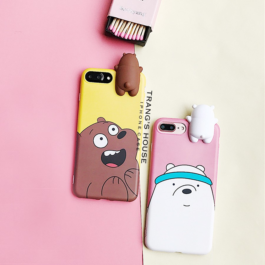 Ốp Lưng Iphone Silicon Ponar & Brow Bear (Có Iphone X)