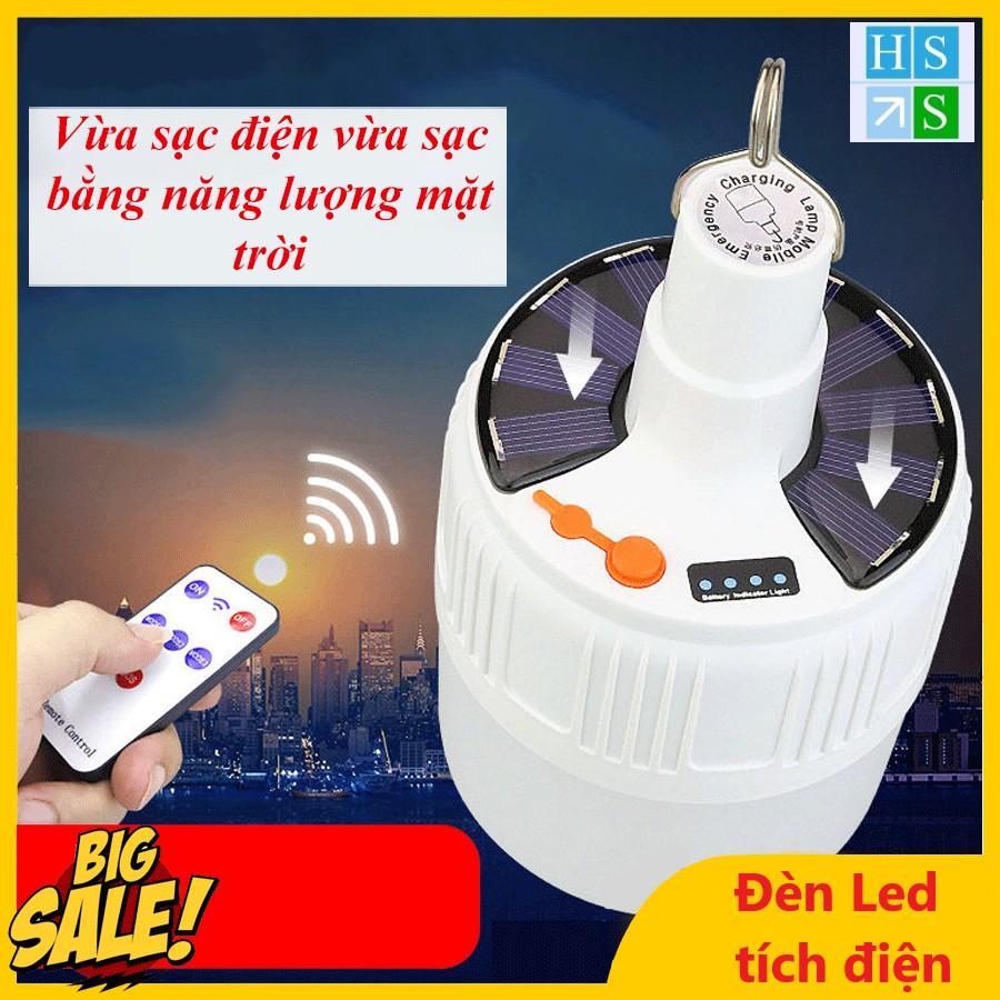 Đèn LED tích điện không dây - Đèn năng lượng mặt trời công suất 90W có remote điều khiển từ xa 5 chế độ sáng