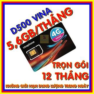 Sim 4G Vina D500 trọn gói 1 năm không nạp tiền - Gói 5,6GB/tháng mạng 4G Vinaphone miễn phí trong 12 tháng