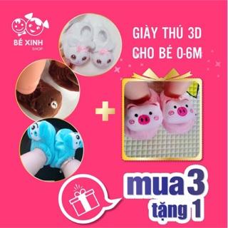 [KHUYẾN MÃI SỐC] Giày thú 3D cho bé sơ sinh MUA 3 TĂNG 1 - Giày sơ sinh 0-6m cưng ứ chịu nổi & HÀNG cao cấp- siêu êm mềm thumbnail
