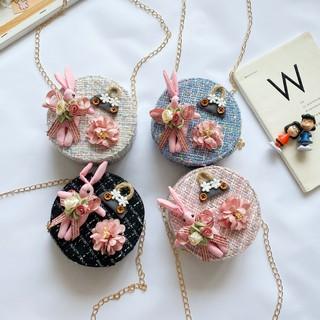 Túi trống đeo chéo mini dễ thương HOA, THỎ phong cách Hàn Quốc cho bé gái TX20