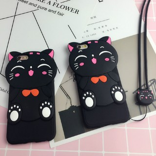 OPPO R9s R9sPlus Cartoon Fortune Cat Silicone Soft Back Case With Lanyard
