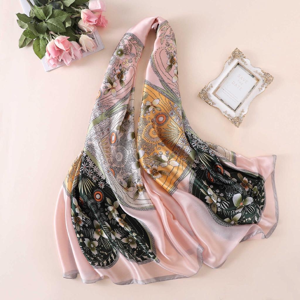 ผ้าพันคอผ้าคลุมไหล่ผ้าซาตินพิมพ์ลายดอกไม้