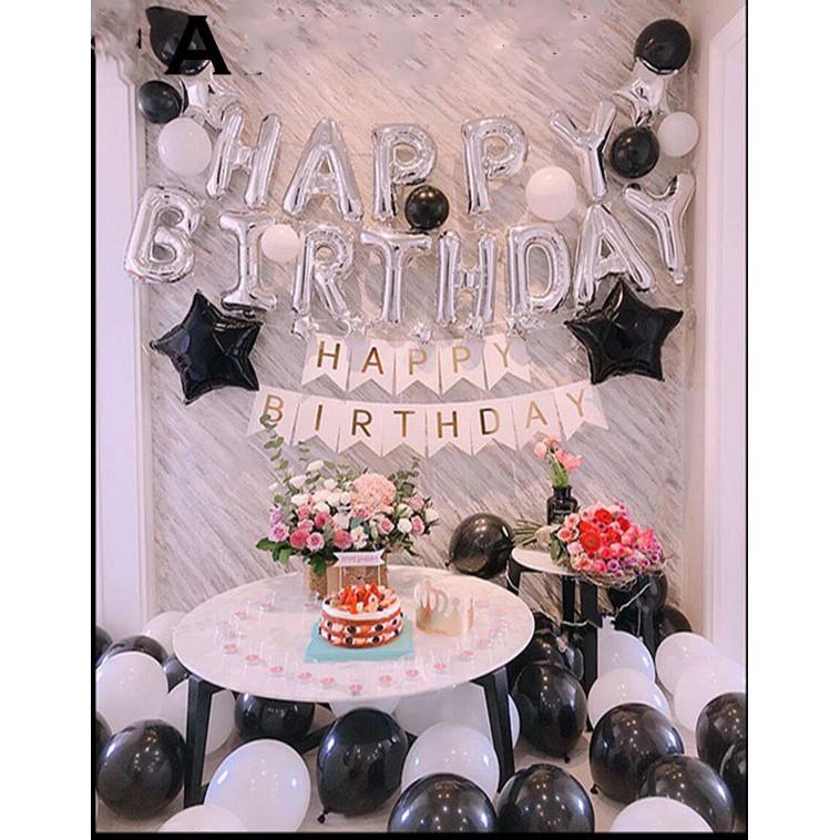 Set bóng trang trí sinh nhật tông màu đen (Băng keo, Bơm, Ruy Băng đi kèm) | Shopee Việt Nam