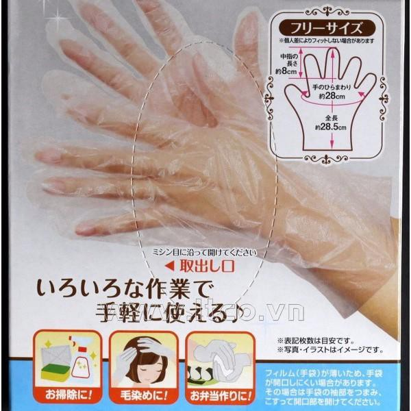 Set 100 găng tay làm bếp nilon hàng Nhật Bản