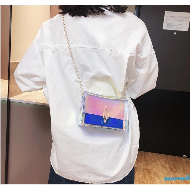 Túi nữ đeo chéo màu laser thời trang