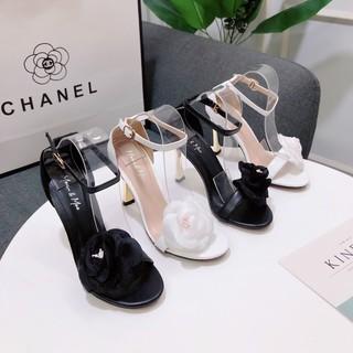 Sandal cao gót hoa trà 9P bít gót - Sandal cao gót 9P nữ Chile