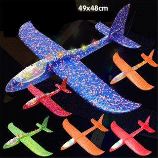 HEL❤ LED EPP foam hand throw airplane outdoor launch glider plane kids gi