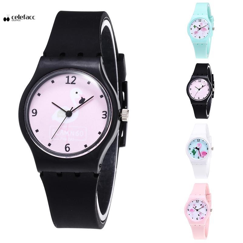 New Silicone Candy Jelly Color Student Watch Fashion Flamingo Wristwatch Cartoon  Quartz Watch