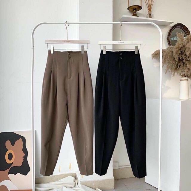 Mặc gì đẹp: Sang trọng với Quần tây nữ lưng cao cạp liền công sở MiuMiu Fashion – Quần baggy nữ cạp cao 2 khuy Đen – Trắng – Nâu – Xám