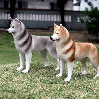 AY-ᴥSimulation Husky Dog Plastic Animal Model Desktop Ornament Decor Children Toy