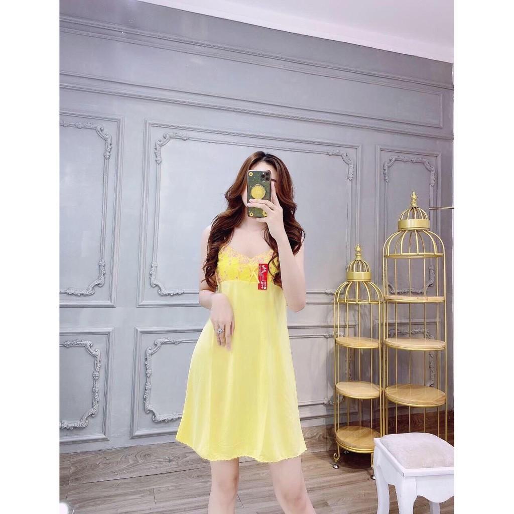 Đầm ngủ thun lạnh phối ren mặc mát nhiều màu Đầm dây bảng mặc nhà