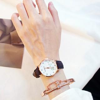 Đồng hồ nữ kim hình cá heo dây da candycat