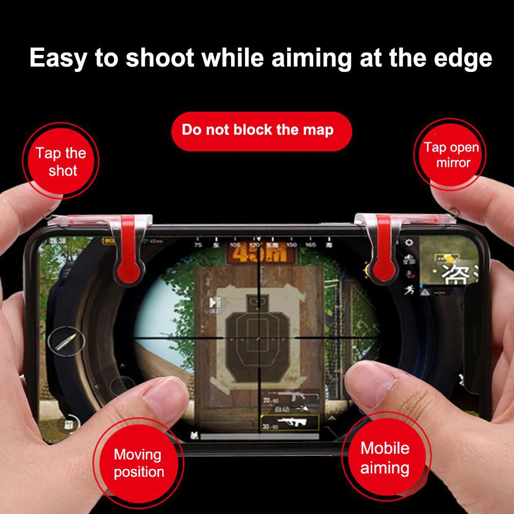 [Fricese]☞ 2pcs Game Controller Phone Fire Trigger Button Aim Key Game Handle for PUBG