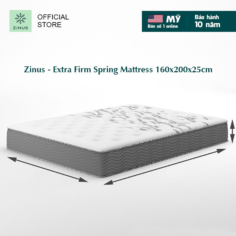 [Mã HLBEST1111 giảm 15% đơn 99K] Nệm lò xo túi hút chân không cao cấp Zinus - Extra Firm Spring Mattress 160x200x25cm