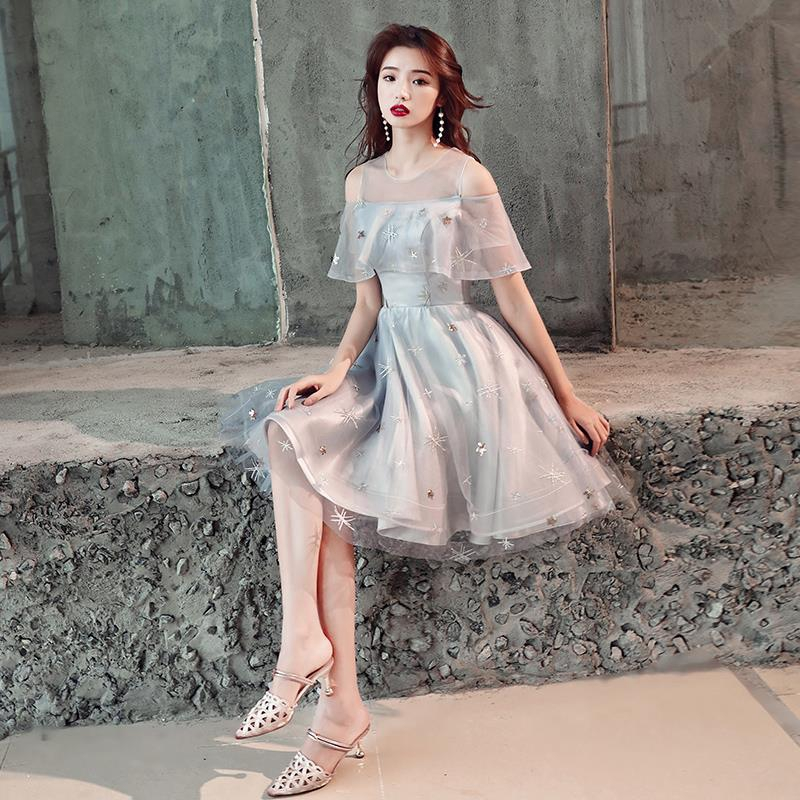 ❏₪♕The new 2019 temperament show thin women fashion dress little dust dream embroidery