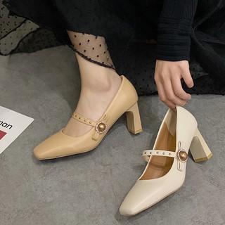 (Order) Giày nữ cao gót, giày cao gót đế dẹt,giày nữ mũi vuông cao gót công sở