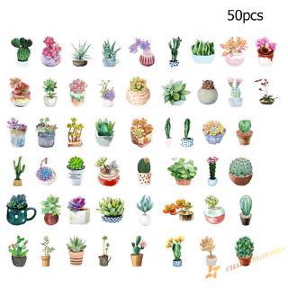 50pcs Creative Diary Journal DIY Scrapbook Mini Paper Plants Sticker Flakes
