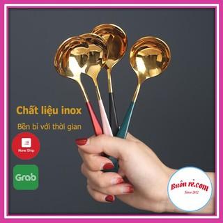 Thìa Ăn Cơm Bằng Inox Mạ Vàng Cán Dài Nhiều Mầu-00945