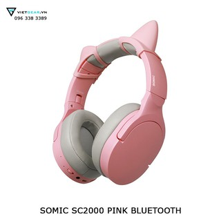 Tai nghe tai mèo Somic SC2000 Bluetooth 5.0 chống ồn màu hồng