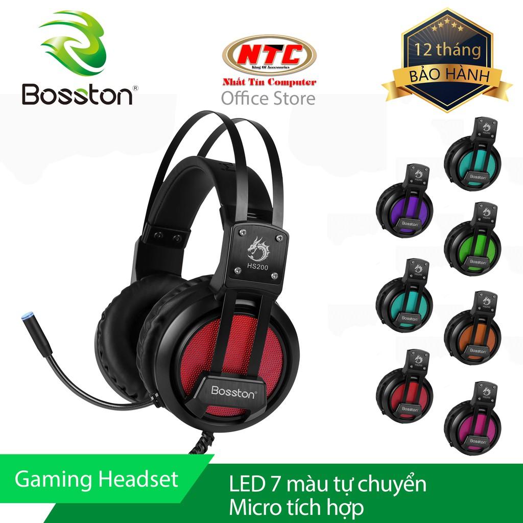 Tai nghe chụp tai chuyên Game Bosston HS200 Led đa màu - Super Bass (Đen) - Hãng phân phối chính thứ