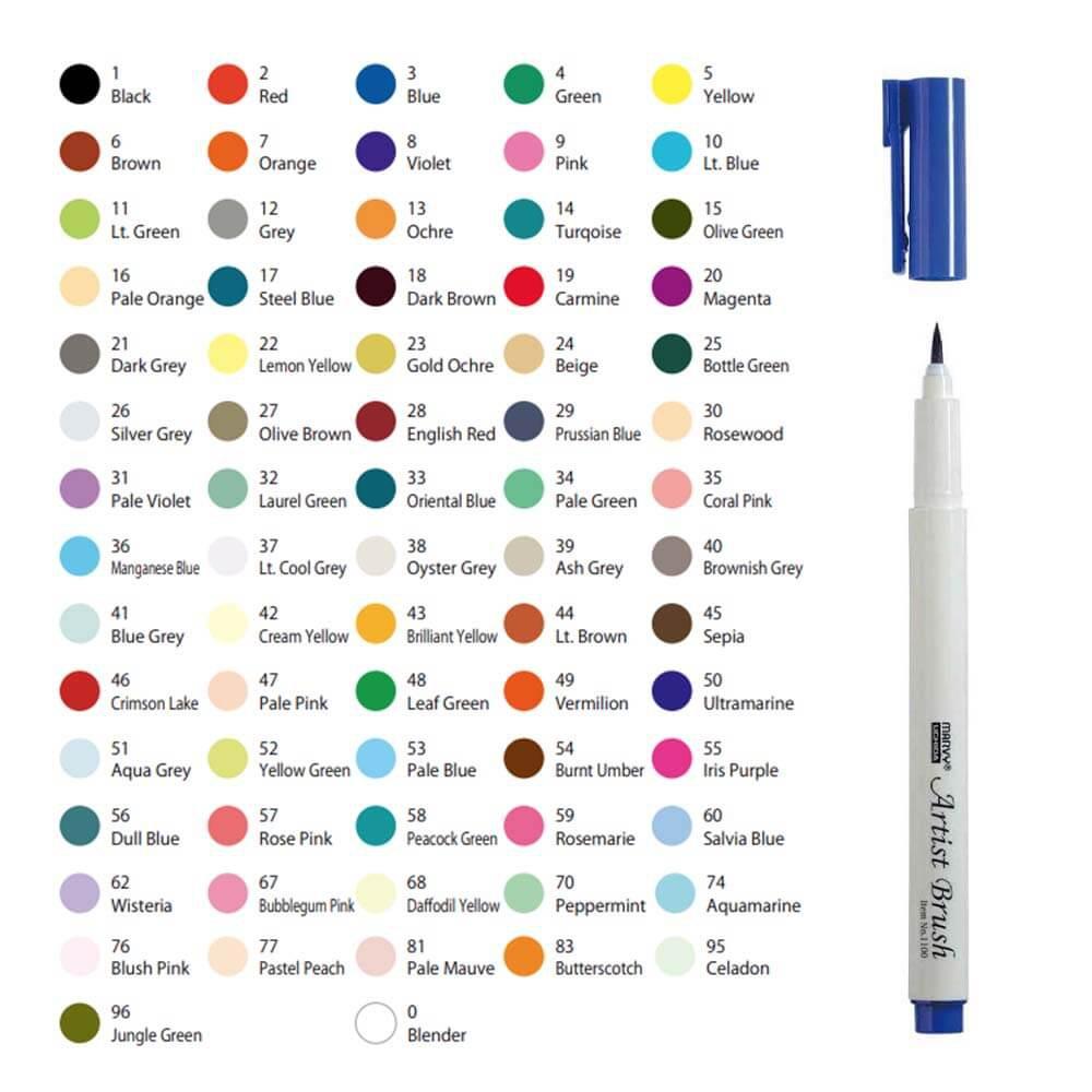 Bút cọ màu Marvy Artist Brush 1100 (Pastel series) | Shopee Việt Nam