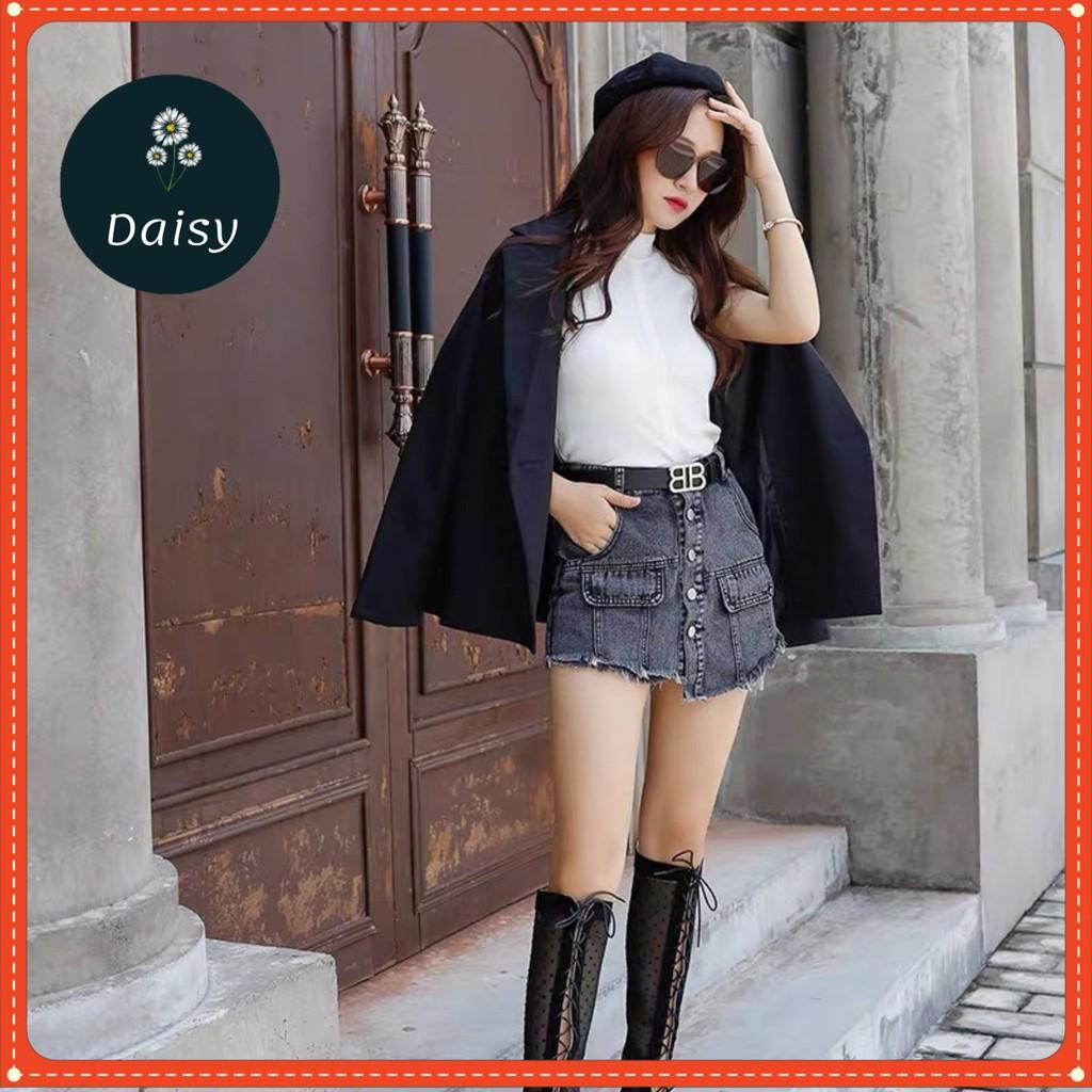 Quần Giả Váy Bò Nữ Tôn Dáng- Quần Jeans Short Giả Váy Khuy Giữa Hottrend [Ảnh Thật Trải Sàn]