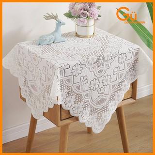 Khăn trải bàn vintage màu trắng phối ren, Tấm vải trải bàn decor trang trí nhà cửa